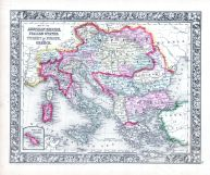 Austrian Empire, Italian States, Turkey in Europe and Greece, World Atlas 1864 Mitchells New General Atlas